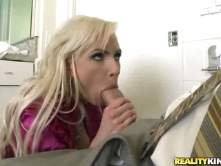 Golden-haired milf Alexa B opening up her sexy mouth and filling it with weenie