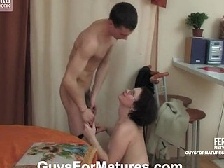 Salacious older chick getting humped unfathomable and hard by well-hung youthful guy