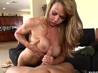 Shayla's son has trouble making allies, so this sweetheart heads over to popular student Seth's abode. Armed with a tasty pie and a magnificent rack, that sweetheart hopes to convince Seth to be her son's ally. But popularity isn't cheap and Seth needs more than just cleavage and baked goods - this chab wants her to fuck for his friendship.