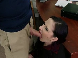 Jordan is down visiting his jocular mater ergo that babe takes him to her work and shows him around. When this chab meets her sexy boss this babe just now takes a liking to him. The boss quickly finds tasks for Jordan's jocular mater ergo this babe can have him all to herself.