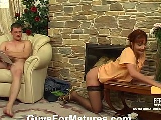 Sentimental aged housewife going after sturdy guy in lieu of of her daily chores
