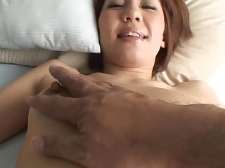 Pretty Oriental mammy i'd like to fuck sucks on hard schlong and her hirsute cunt fingered